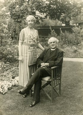 Rev and Mrs Lax in their garden c 1930s