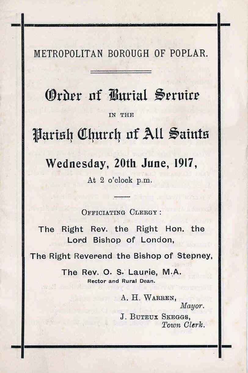 Order of service at the funeral of the 18 children killed in the daylight air raid, the funeral took place on 20 Jun 1917