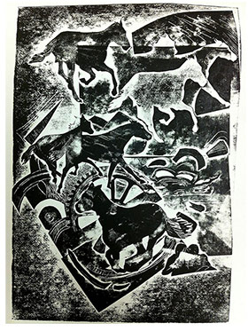 abstract print of horses