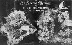 a postcard in memory of the 18 children killed on the 13 Jun 1917