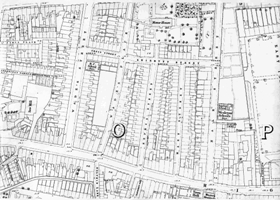 Ordnance Survey map showing Shirbutt Street, c1870