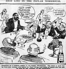 'High life in Poplar Workhouse' cartoon. Crooks is portrayed standing on the left with Lansbury seated to the right of him