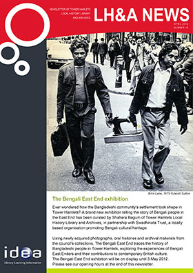 Newsletter page featuring the Bengali East exhibition from 2012
