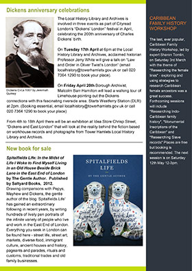 Newsletter page featuring Dickens anniversary celebrations and new books for sale, 2012