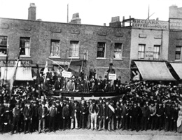 A scene in East India Dock Road during the strike in 1889